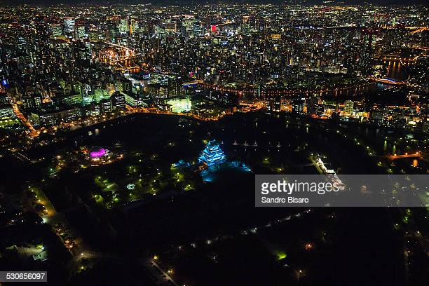 Osaka Cityscape with Castle Aerial View At Night