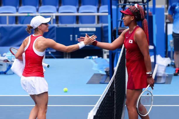 Osaka defeats Golubic during the Women's Tennis Round 2 match between Naomi Osaka and Viktorija Golubic on Day 3 of the Tokyo 2020 Olympic Games at...