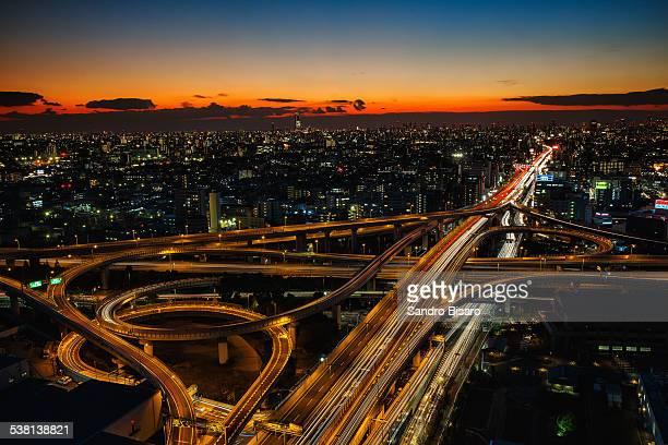 Osaka Highways at Sunset