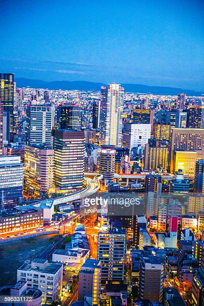 Osaka in Japan cityscape aerial view downtown at night