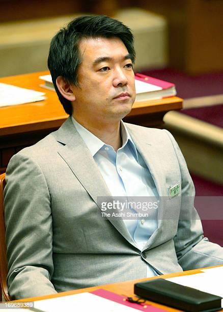 Osaka mayor Toru Hashimoto looks on after Osaka city assembly rejected the censure motion against Hashimoto at Osaka City Hall on May 30 2013 in...