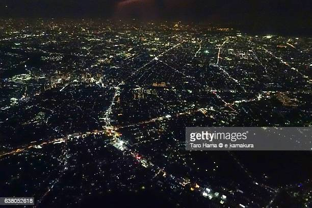 Osaka night sky view from airplane