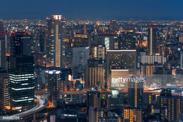 osaka skyline - liyao xie stock pictures, royalty-free photos & images