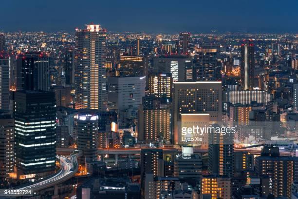 osaka skyline - liyao xie stock-fotos und bilder