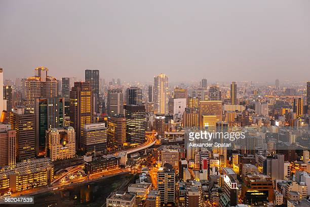 Osaka skyline seen at dusk