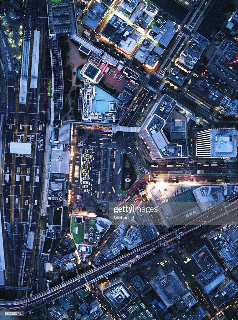 Osaka Station aerophotograph : Bildbanksbilder