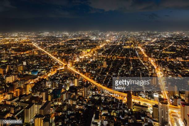 osaka x cityscape at night aerial view - x photos stock photos and pictures
