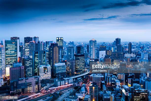 osaka,japan - cityscape stock pictures, royalty-free photos & images