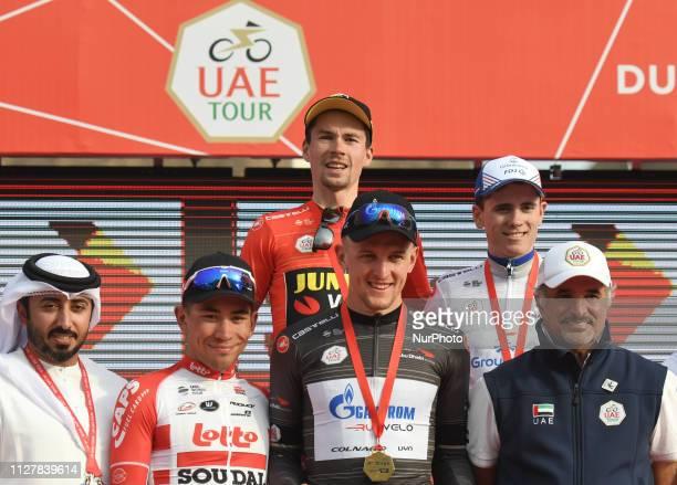 Osama Al Shafar President UAE Cycling Federation Caleb Ewans Stage 4 Winner Primoz Roglic The Red Leader Jersey Stepan Kuriyanov The Black...