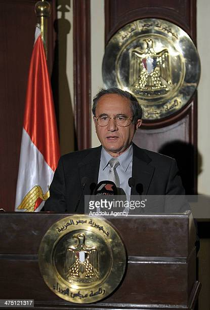 Osama AlGhazali founder of Democratic Front Party speaks during a press conference after meeting with Housing Minister of Egypt Ibrahim Mehleb...
