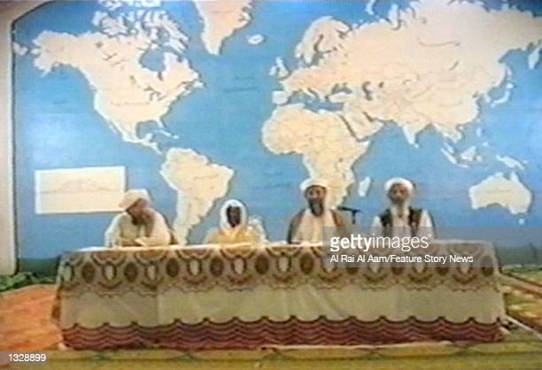 Osama bin Laden and some of his lieutenants appear in this undated still frame from a recruitment video for his extremist AlQaida network