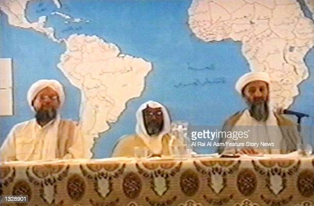 Osama bin Laden , Ayman Al-Zawahiri and another lieutenant appear in this undated still frame from a recruitment video for his extremist Al-Qaida...