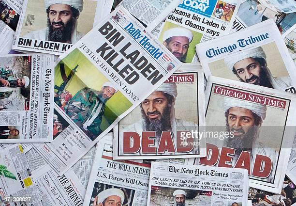 osama bin laden dead newspaper headlines horz - osama bin laden stock pictures, royalty-free photos & images