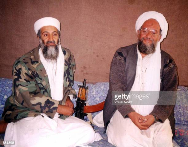 Osama bin Laden sits with his adviser Ayman alZawahiri an Egyptian linked to the al Qaeda network during an interview with Pakistani journalist Hamid...