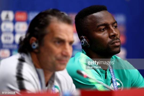 Osama Hawsawi of Saudi Arabia speaks to the media during a Saudia Arabia press conference ahead of the 2018 FIFA World Cup opening match against...