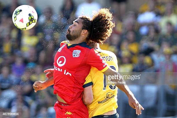 Osama Malick of Adelaide United heads the ball during the round 16 A-League match between the Newcastle Jets and Brisbane Roar at Hunter Stadium on...