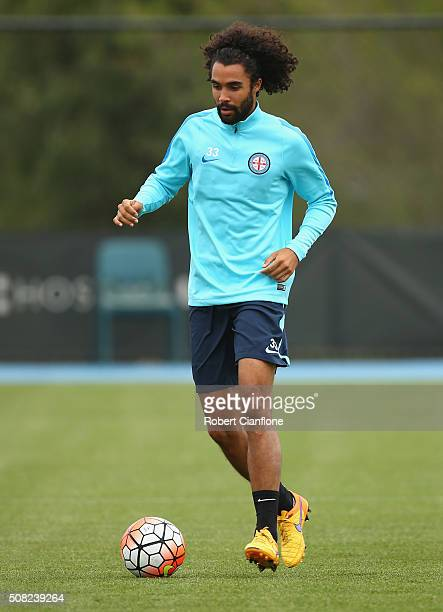 Osama Malik of Melbourne City controls the ball during a Melbourne City ALeague training session at City Football Academy on February 4 2016 in...