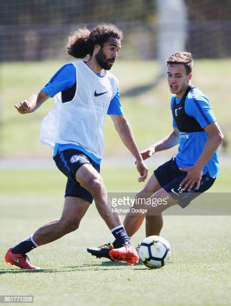 Osama Malik of the City controls the ball from Daniel Arzani during a Melbourne City ALeague training session on October 16 2017 in Melbourne...