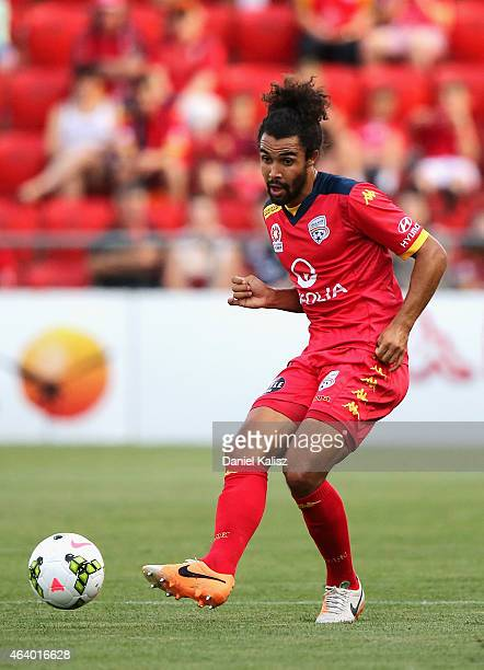 Osama Malik of United strikes the ball during the round 18 ALeague match between Adelaide United and Western Sydney Wanderers at Coopers Stadium on...