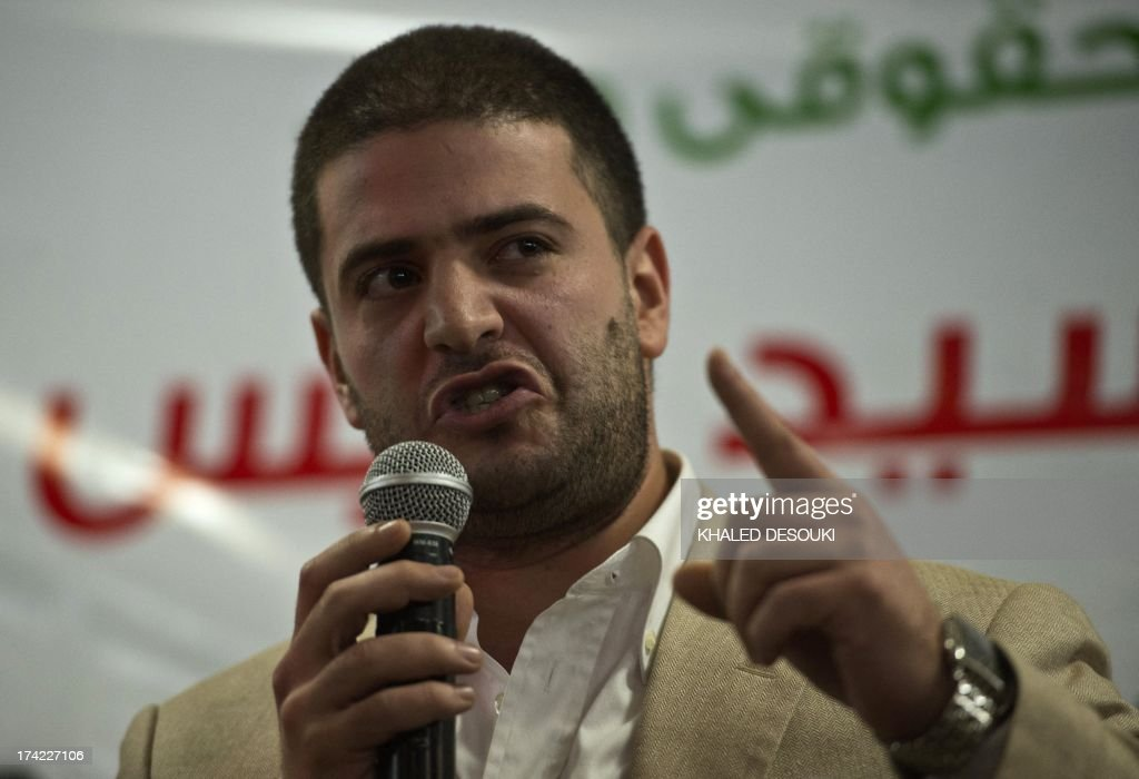 Osama Mohamed Morsi son of Egypt's ousted president Mohamed Morsi speaks during a press conference in Cairo on July 22, 2013. The family of Morsi is to take legal action against Egypt's army chief, General Abdel Fattah al-Sisi, for 'kidnapping' the Islamist president, his daughter Shaimaa Mohamed said.