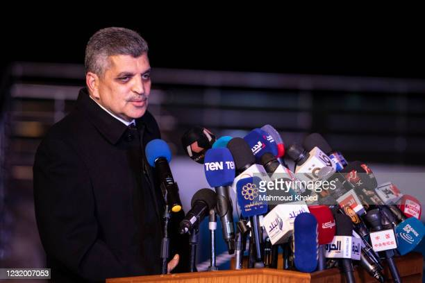 Osama Rabie, chairman of the Suez Canal Authority , speaks during a press conference after the container ship 'Ever Given' is refloated, unblocking...