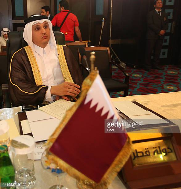 Osama Youssef Qaradawi Deputy Permanent Representative of Qatar to the Arab League attends the Arab economy finance and trade ministers meeting as...
