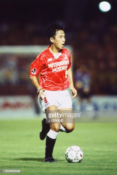Osamu Hirose of Urawa Red Diamonds in action during the J.League Suntory Series match between Shimizu S-Pulse and Urawa Red Diamonds at the...