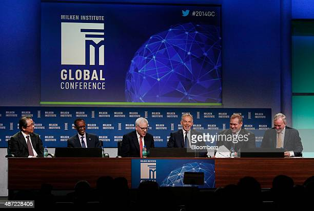 Osamu Nagayama chairman and chief executive officer of Chugai Pharmaceutical Co from left Rwandan President Paul Kagame David Rubenstein cofounder...