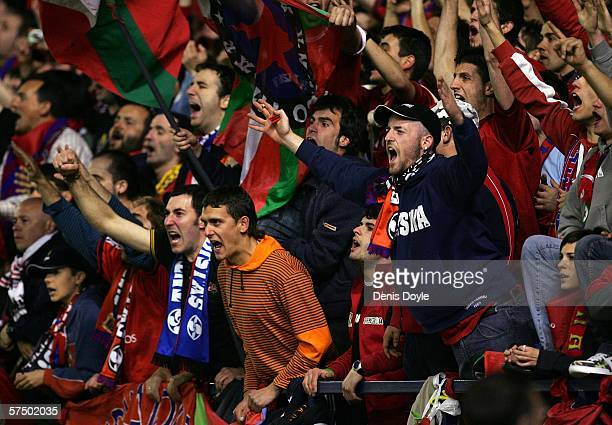Osasuna fans cheer their team during the Primera Liga match between Osasuna and Real Madrid at the Reyno de Navarra stadium on April 30 2006 in...