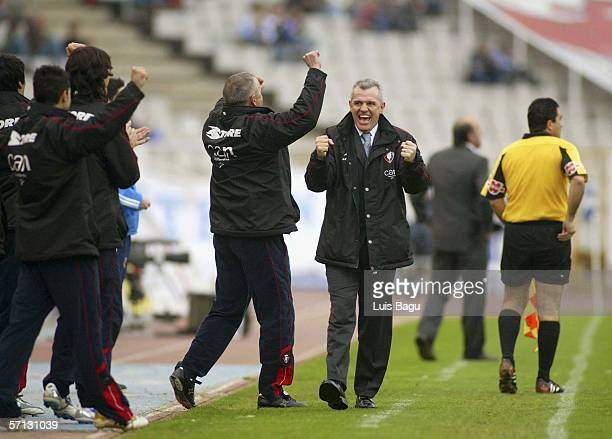 Osasuna's coach Javier Aguirre celebrates Osasuna's goal during the match between RCD Espanyol and Osasuna of La Liga on March 2006 played at the...