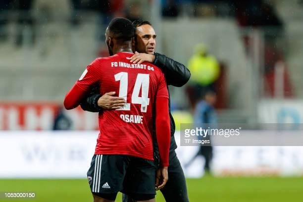 Osayamen Osawe of FC Ingolstadt hugs Head coach Alexander Nouri of FC Ingolstadt during the Second Bundesliga match between FC Ingolstadt 04 and 1 FC...