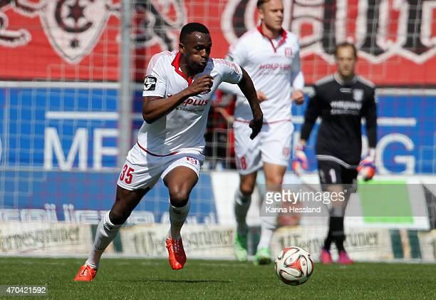 Osayamen Osawe of Halle during the Third League match between Hallescher FC and Kieler SV Holstein at Erdgas Sportpark on April 19 2015 in Halle...
