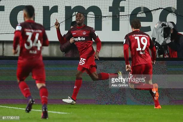 Osayamen Osawe of Kaiserslautern celebrates his team's first goal with team mates during the Second Bundesliga match between 1. FC Kaiserslautern and...