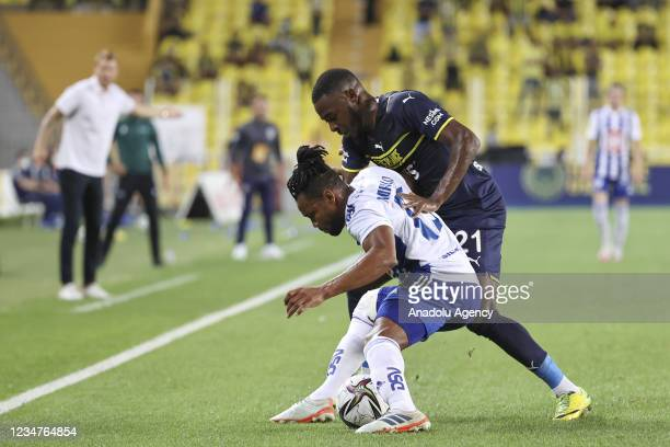 Osayi-Samuel of Fenerbahce in action against Carlos Murillo of HJK Helsinki during UEFA Europa League play-off soccer match between Fenerbahce and...
