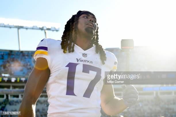 Osborn of the Minnesota Vikings celebrates after the 34-28 overtime win against the Carolina Panthers at Bank of America Stadium on October 17, 2021...