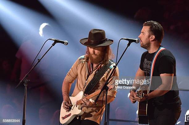 J Osborne and John Osborne from musical duo Brothers Osborne onstage during the 2016 CMT Music awards at the Bridgestone Arena on June 8 2016 in...