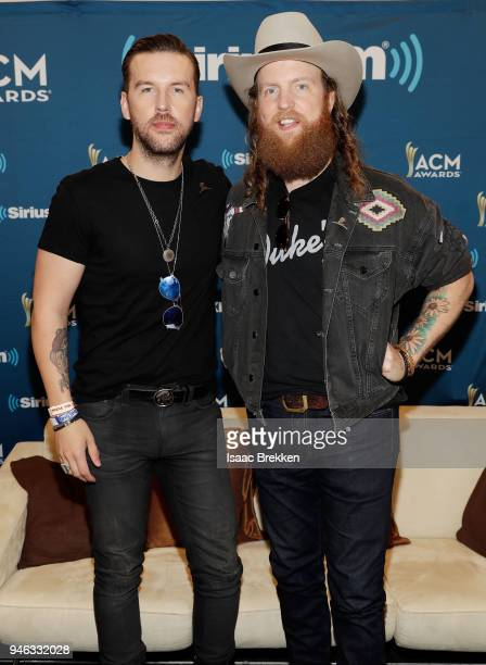 J Osborne and John Osborne of the Brothers Osborne attend SiriusXM's The Highway channel broadcast backstage at the Academy of Country Music Awards...