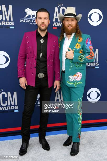 TJ Osborne and John Osborne of The Brothers Osborne attend the 54th Academy Of Country Music Awards at MGM Grand Hotel Casino on April 07 2019 in Las...