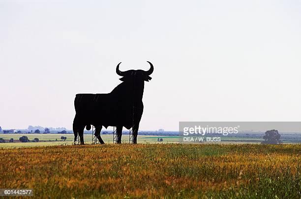 Osborne bull black silhouette of a bull advertising for the Osborne wine group Andalusia Spain