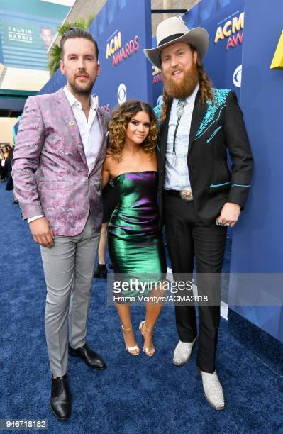 TJ Osborne Maren Morris and John Osborne attend the 53rd Academy of Country Music Awards at MGM Grand Garden Arena on April 15 2018 in Las Vegas...