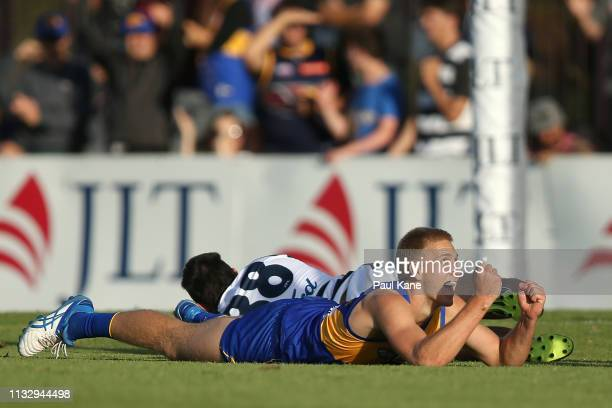 Oscar Allen of the Eagles celebrates a goal during the 2019 JLT Community Series AFL match between the West Coast Eagles and the Geelong Cats at...