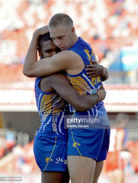 Oscar Allen of the Eagles celebrates kicking a goal during the round 5 AFL match between the West Coast Eagles and the Sydney Swans at Metricon...