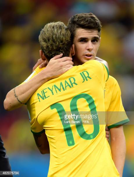 Oscar and Neymar of Brazil react after the 2014 FIFA World Cup Brazil 3rd Place Playoff match between Brazil and Netherlands at Estadio Nacional on...