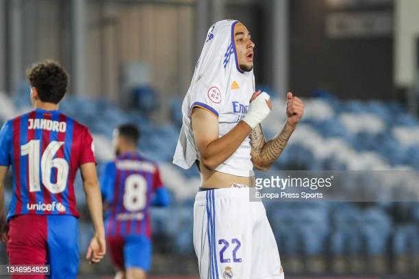 Oscar Aranda of Real Madrid Castilla reacts during Primera RFEF Group 2 football match played between Real Madrid Castilla and FC Barcelona B at...