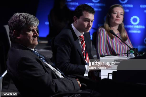 Oscar Bernal Acevedo looks on during panel 'Perspectives on Healthcare From Coverage to Sustainability' as part of the 2018 Concordia Americas Summit...