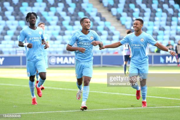 Oscar Bobb of Manchester City celebrates after scoring their side's second goal during the UEFA Youth League match between Manchester City and RB...