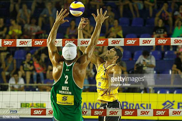 Oscar Brand'o of Brazil in action during main draw match against Juan Virgen of Mexico during the FIVB Fortaleza Open on Futuro Beach on April 30...