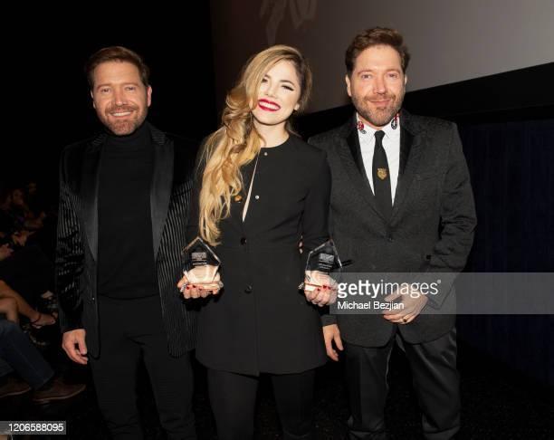 Oscar Cardenas Maria Gabriela Cardenas and Victor Cardenas at A Dark Foe Film Premiere on February 15 2020 in Los Angeles California