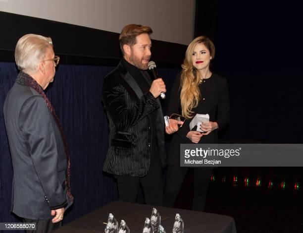 Oscar Cardenas speaks on stage at A Dark Foe Film Premiere on February 15 2020 in Los Angeles California