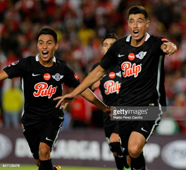 Oscar Cardozo of Libertad celebrates after scoring the first goal of his team during a second leg match between Independiente Santa Fe and Libertad...
